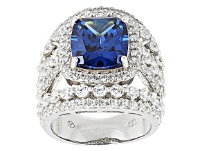 Blue And White Cubic Zirconia Rhodium Over Silver Ring 15.90ctw