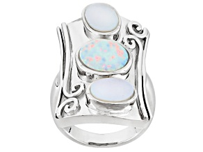 white cultured freshwater pearl with lab created opal rhodium over silver ring