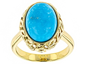 Pre-Owned Turquoise 18k Yellow Gold Over Brass Ring