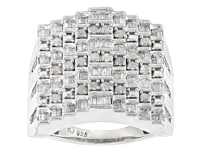 Rhodium Over Sterling Silver Diamond Ring 1.00ctw