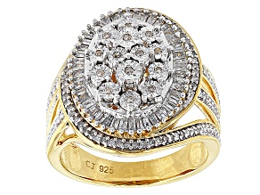 Pre-Owned 14k Yellow Gold Over Sterling Silver Diamond Ring .50ctw