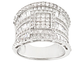 Pre-Owned White Cubic Zirconia Rhodium Over Sterling Silver Ring 3.62ctw
