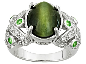 Green Cats Eye Quartz Sterling Silver Ring. .69ctw