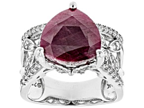 Pre-Owned Red india Ruby Sterling Silver Ring 8.53ctw