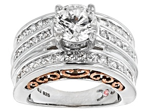 Pre-Owned Cubic Zirconia Silver And 18k Rose Gold Over Silver Ring 6.56ctw