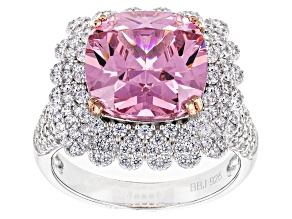 Pre-Owned Pink And White Cubic Zirconia Rhodium Over Sterling Silver Ring 12.45ctw