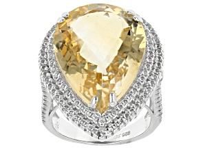 Pre-Owned Yellow Citrine Sterling Silver Ring 21.50ctw