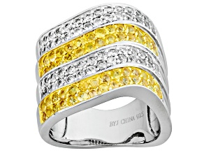 Yellow Sapphire Sterling Silver Two Tone Ring 2.00ctw