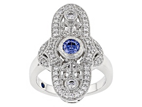 Pre-Owned Blue And Whie Cubic Zirconia Platineve Ring 1.31ctw