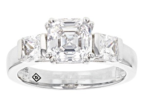 White Cubic Zirconia Rhodium Over Sterling Silver Ring 4.29ctw