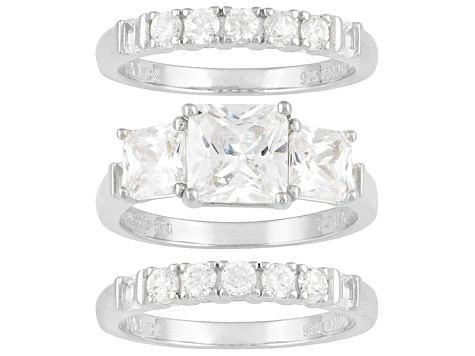 Womens 3-Stone Engagement Ring Band Set 6ctw Bella Luce Princess Cz Silver