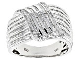 Pre-Owned White Diamond Sterling Silver Ring .83ctw