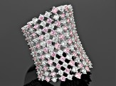 Pink And White Cubic Zirconia Rhodium Over Sterling Silver Ring 9.65ctw