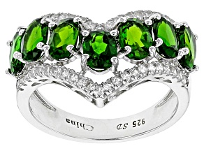 Green Chrome Diopside Sterling Silver Ring 3.47ctw