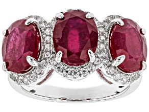 Pre-Owned Red Ruby Sterling Silver Ring 7.60ctw