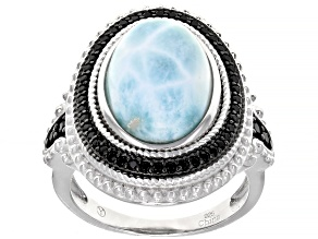 Pre-Owned Blue Larimar Sterling Silver Ring .30ctw