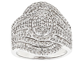Pre-Owned Rhodium Over Sterling Silver Diamond Ring 1.63ctw