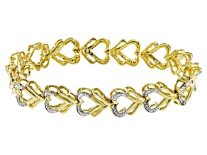 White Diamond 18k Yellow Gold Over Brass Bracelet .10ctw