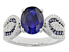 Pre-Owned Lab Created Sapphire And White Cubic Zirconia Silver Ring 3.12ctw