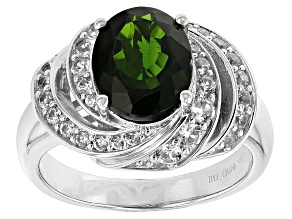 Pre-Owned Green Chrome Diopside Sterling Silver Ring 2.83ctw