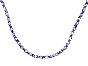 Blue Tanzanite Sterling Silver Necklace 18.26ctw