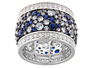 Blue And White Cubic Zirconia Rhodium Over Sterling Silver Ring 10.45ctw