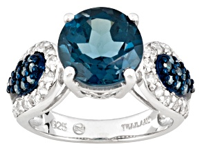 Barehipani Topaz ™ 4.40ct With .60ctw White Topaz And .23ctw Blue Diamond Sterling Silver Ring