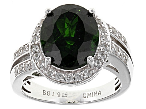 Pre-Owned Green Chrome Diopside Sterling Silver Ring 5.24ctw