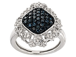 Pre-Owned Blue And White Diamond Rhodium Over Sterling Silver Ring .80ctw