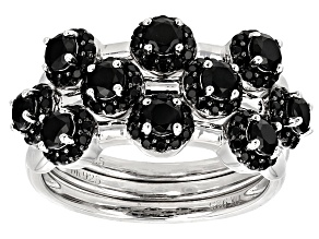 Pre-Owned Black Spinel Sterling Silver Stackable 3 Ring Set  1.80ctw