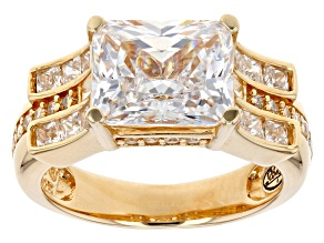 Pre-Owned White Cubic Zirconia 18k Yellow Gold Over Silver Ring 7.61 Ctw