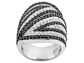 Pre-Owned Black Spinel Sterling Silver Ring 4.00ctw.