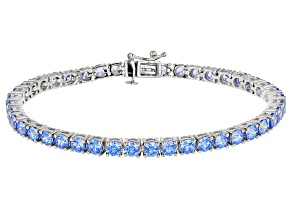 Pre-Owned Blue Zirconia From Swarovski ® Rhodium Over Sterling Silver Bracelet 19.25ctw