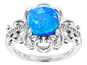 Pre-Owned Blue Ethiopian Opal Sterling Silver Ring 1.13ctw