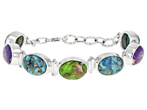 Pre-Owned Blue Turquoise Sterling Silver Bracelet