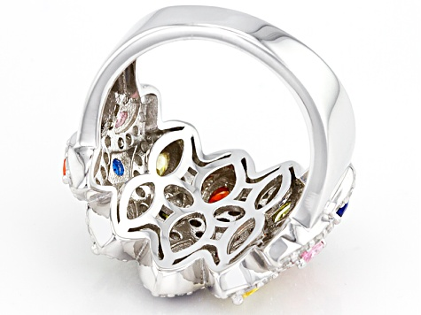 Pre-Owned Synthetic Blue Spine & Multicolor Cubic Zirconia Rhodium Over Sterling Silver Ring 6.45ctw