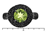 Pre-Owned Green Peridot Sterling Silver Ring 4.33ctw