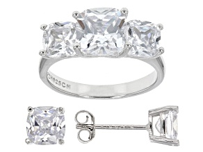 Pre-Owned White Cubic Zirconia Rhodium Over Sterling Silver Ring And Earrings 8.69ctw