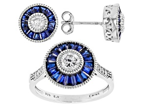 Pre-Owned Synthetic Blue Spinel & White Cubic Zirconia Rhodium Over Silver Ring & Earrings 3.09ctw