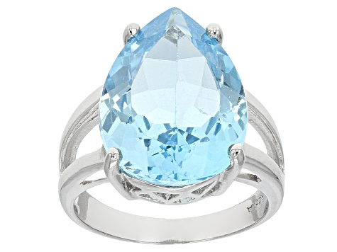 Pre-Owned Swiss Blue Topaz Sterling Silver Ring 12.00ct