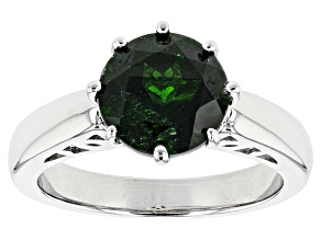 Pre-Owned Green Chrome Diopside Sterling Silver Solitaire Ring 2.62ct