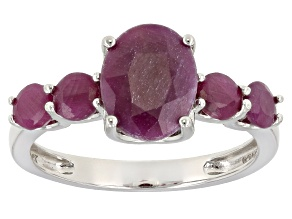 Pre-Owned Red indian Ruby Sterling Silver Ring 4.41ctw