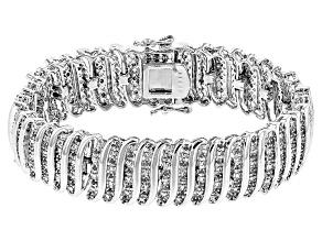 Pre-Owned White Diamond Rhodium Over Brass Bracelet 2.00ctw