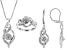 Pre-Owned White Diamond Rhodium Over Brass Jewelry Set .10ctw