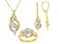 Pre-Owned White Diamond 14k Yellow Gold Over Brass Jewelry Set .10ctw