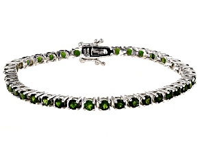 Pre-Owned Green Chrome Diopside Sterling Silver Tennis Bracelet 7.72ctw