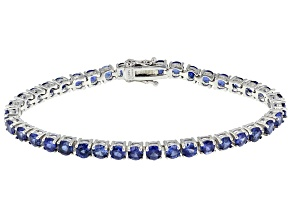 Pre-Owned Blue Lab Created Sapphire Sterling Silver Tennis Bracelet 13.00ctw
