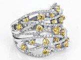 Pre-Owned Yellow And White Cubic Zirconia Rhodium Over Sterling Silver Ring 3.22ctw