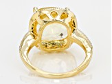 Pre-Owned Yellow Citrine And White Diamond 18k Yellow Gold Over Sterling Silver Ring 5.70ctw