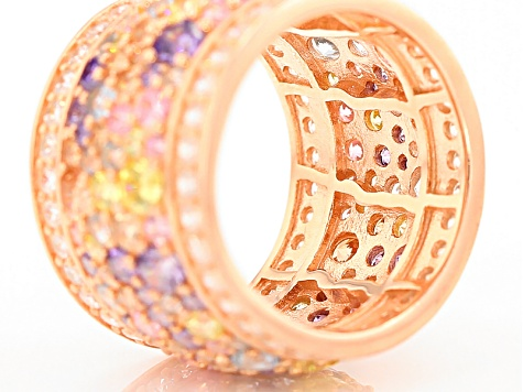 Pre-Owned White, Blue, Pink,Yellow Brown, Purple Cubic Zirconia 18k Rose Gold Over Silver Ring 10.45